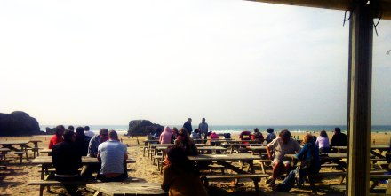 View of the beach from the Watering Hole bar.