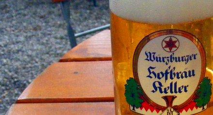 A glass of Wuerzburger Hofbrau Pils.