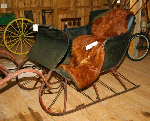 Antique Wintertime Sleigh with fur blanket