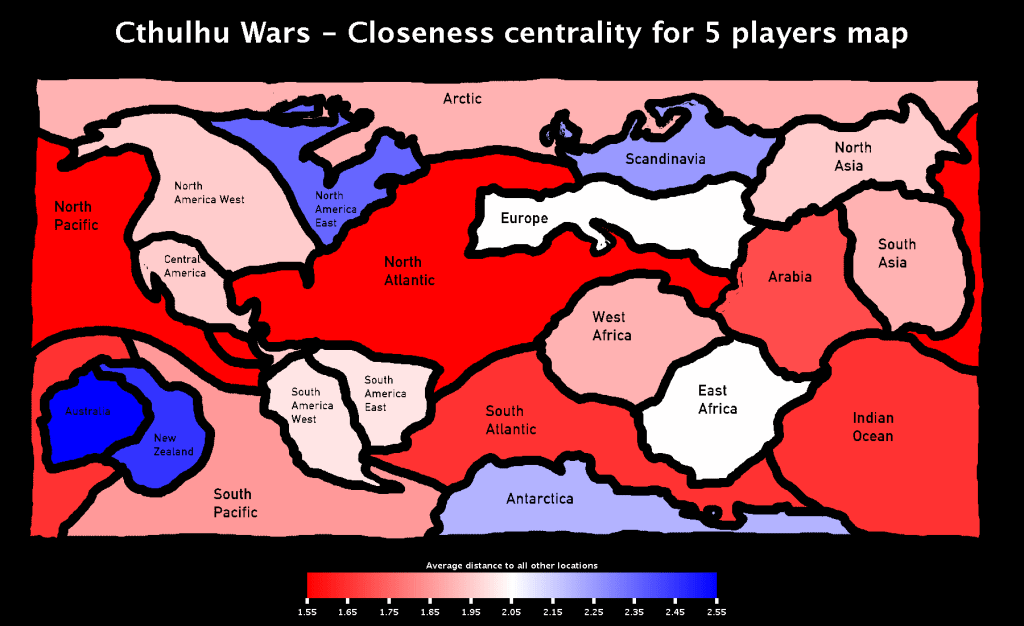 Cthulhu Wars - Closeness Centrality of locations for the 5 players map