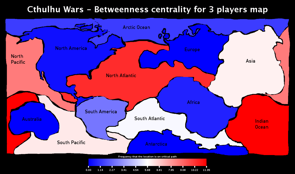 Cthulhu Wars - Betweenness Centrality for 3 players Map