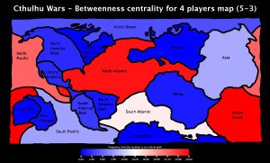 Cthulhu Wars - Betweenness Centrality for 4 players Map (5-3)