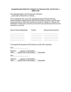 SHAREHOLDER WRITTEN CONSENT TO TRANSACTION INVOLVING A DIRECTOR