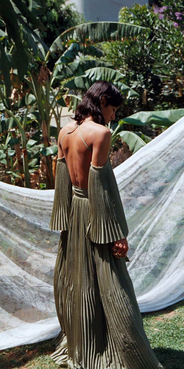 Pleated Maxi Skirt in Olive Green
