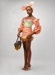 Color Block Asooke and Raffia Mini Dress By Pepper Row