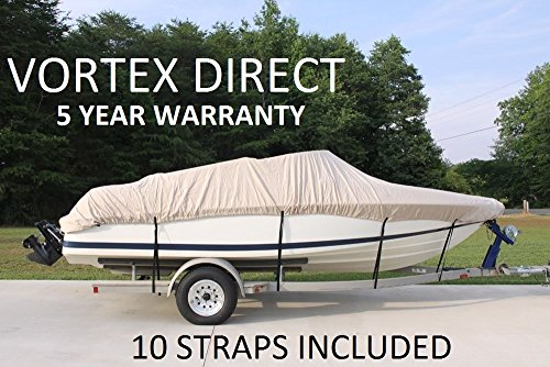BEIGE/TAN VORTEX HEAVY DUTY VHULL FISH SKI RUNABOUT COVER FOR 20 21 22' BOAT, BEST AVAILABLE COVER
