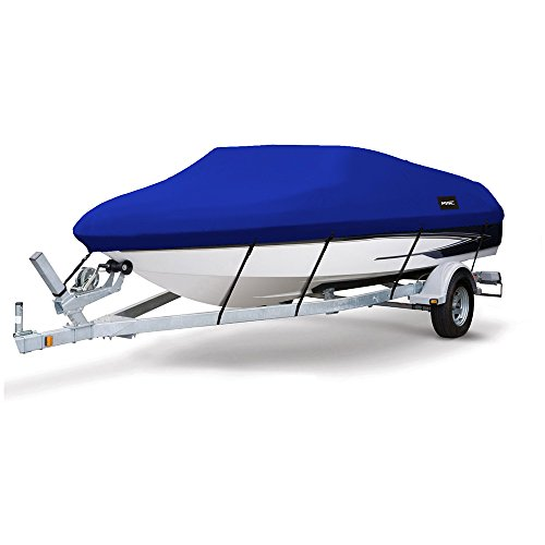 MSC Heavy Duty 600D Marine Grade Polyester Canvas Trailerable Waterproof Boat Cover, Pacific Blue,Fits V-Hull,Tri-Hull, Runabout Boat Cover,Full Size Boat Cover
