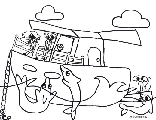 Boating Printable Coloring Page for Kids: Dolphin Swim | Boater Kids