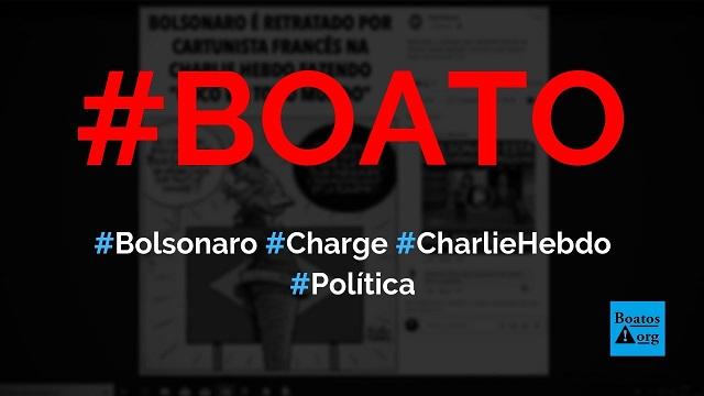 Charlie Hebdo publica charge de Bolsonaro fazendo cocô na bandeira do Brasil, diz boato (Foto: Reprodução/Facebook)