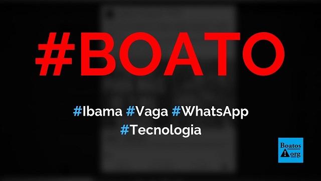 Ibama tem vagas de emprego e contrata, sem experiência, em site no WhatsApp, diz boato (Foto: Reprodução/Facebook)