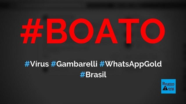 Vírus Gambarelli e WhatsApp Gold são as novas ameaças a telefones, diz boato (Foto: Reprodução/Facebook)