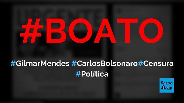 Carlos Bolsonaro foi expulso de redes sociais (Facebook, Instagram e Twitter) por ordem de Gilmar Mendes, diz boato (Foto: Reprodução/Facebook)