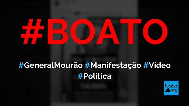 General Mourão convoca população para manifestações em quartéis no dia 19 de abril de 2020, diz boato (Foto: Reprodução/Facebook)