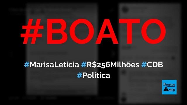 Marisa Letícia tinha R$ 256 milhões em CDB do banco Bradesco, diz boato (Foto: Reprodução/Facebook)