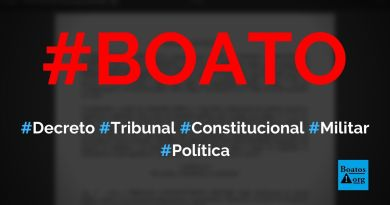 Bolsonaro acabou de criar o Tribunal Constitucional Militar para caçar os corruptos, diz boato (Foto: Reprodução/Internet)
