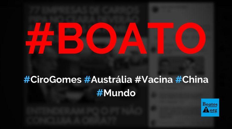 Família de Ciro Gomes é dona de 77 empresas de carros-pipa no Ceará, diz boato (Foto: Reprodução/Facebook)