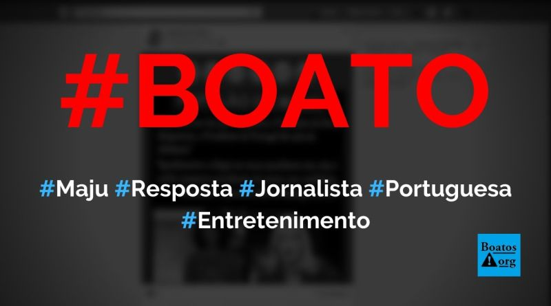 Maju fala que Bolsonaro desgoverna e é respondida por jornalista portuguesa Márcia Rodrigues, da RTP, diz boato (Foto: Reprodução/Facebook)