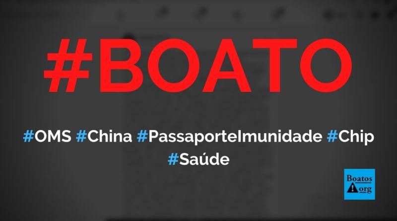 OMS e China vão criar passaporte de imunidade para Covid-19 com certificado digital na mão das pessoas, diz boato (Foto: Reprodução/Facebook)