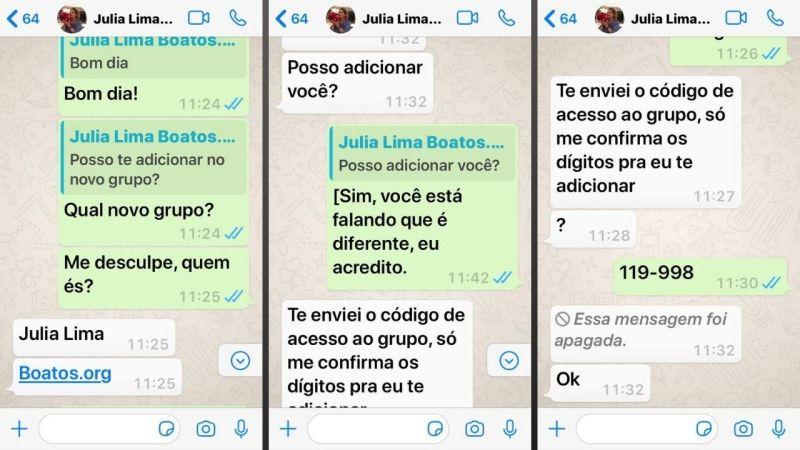 Olha aí a tentativa de golpe de roubo de WhatsApp na prática