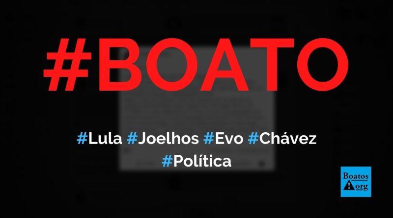 Foto mostra Lula de joelhos para Evo Morales e Hugo Chávez, diz boato (Foto: Reprodução/Facebook)