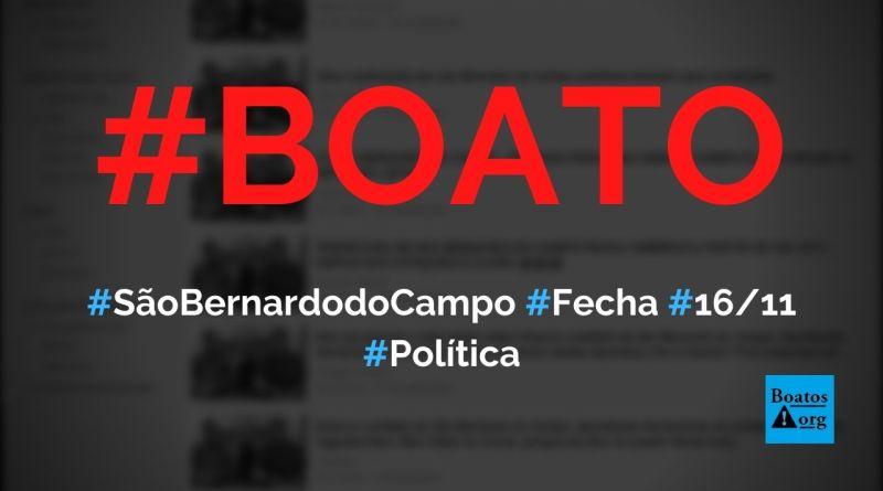 Prefeitura de São Bernardo do Campo (SP) vai fechar comércio após as eleições, diz boato (Foto: Reprodução/Facebook)