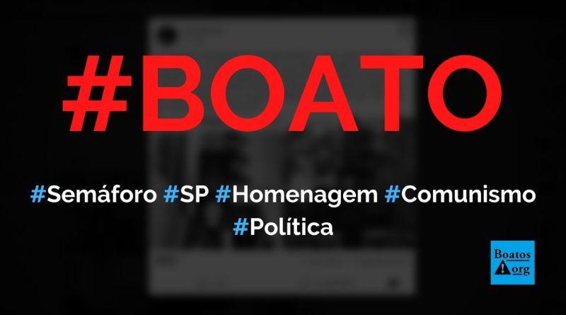 Semáforo em São Paulo tem punho cerrado em homenagem ao comunismo, diz boato (Foto: Reprodução/Facebook)