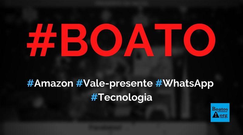 Amazon dá vale-presente de Natal em site no WhatsApp, diz boato (Foto: Reprodução/Facebook)