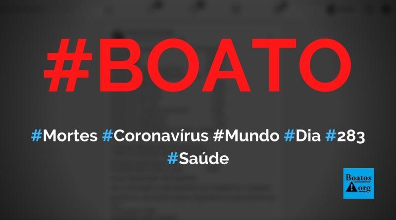 Média de mortes por dia por coronavírus é 283 e prova que há uma histeria coletiva, diz boato (Foto: Reprodução/Facebook)