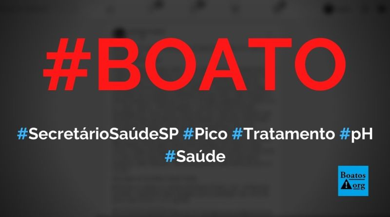 """Secretário de Saúde de São Paulo diz """"chegamos ao pico"""", recomenda """"tratamento precoce"""" e fala sobre pH do Covid-19, diz boato (Foto: Reprodução/Facebook)"""