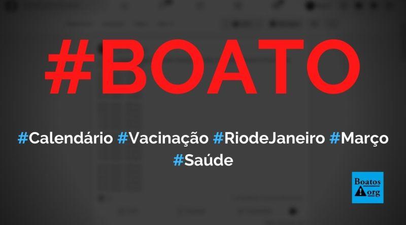 Calendário de vacinação de março no Rio de Janeiro para pessoas de 55 a 74 anos foi divulgado, diz boato (Foto: Reprodução/Facebook)