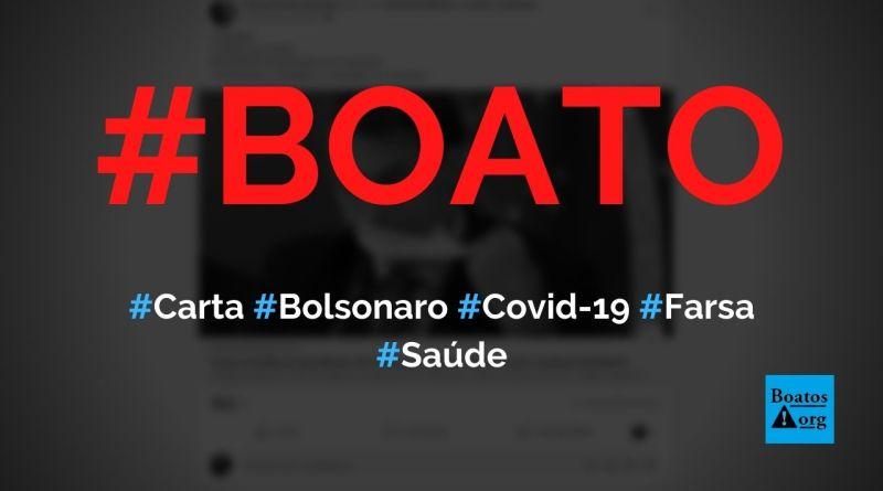 Carta enviada a Bolsonaro está certa ao afirmar que Covid-19 é uma farsa, diz boato (Foto: Reprodução/Facebook)