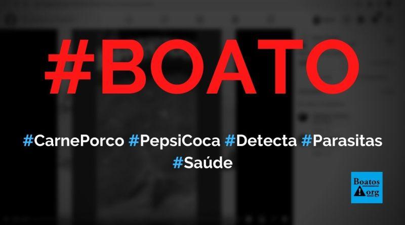 Colocar refrigerante (Pepsi ou Coca) na carne de porco detecta parasitas, diz boato (Foto: Reprodução/Facebook)