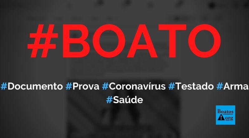 Coronavírus foi testado como arma biológica pela China, mostram documentos, diz boato (Foto: Reprodução/Facebook)