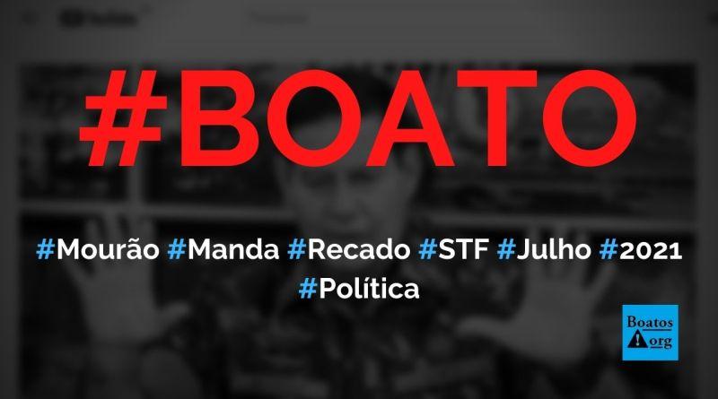 """Mourão manda duro recado a ministros do STF e o """"bicho vai pegar"""" em julho de 2021, diz boato (Foto: Reprodução/YouTube)"""