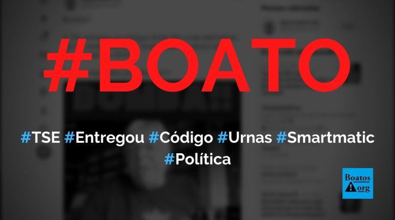 TSE entregou código-fonte das urnas eletrônicas para a Smartmatic, diz boato (Foto: Reprodução/Facebook)