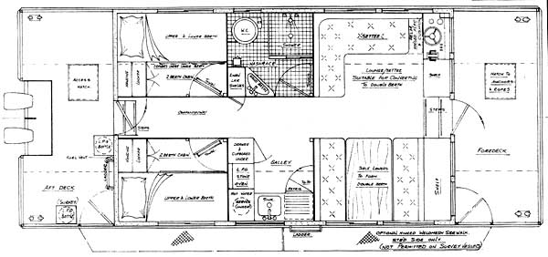 Houseboat plans in steel and aluminum for Boat house floor plans