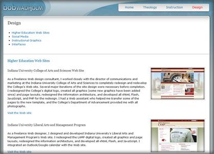 Screenshot of bob.wadholm.com Design Web page