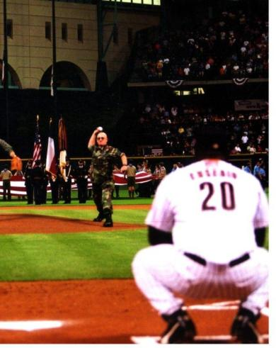Bob Throwing 1st Pitch at Astro's Game