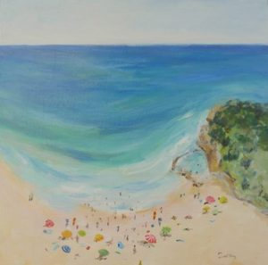 Avoca Summer Study - Robyn Pedley, Acrylic on board, 35cm x 35cm, Framed in White, landscape, beachscape