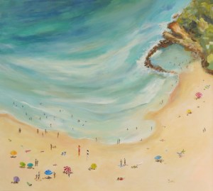 SOLD - Avoca Summer, beachscape, original artwork by Robyn Pedley