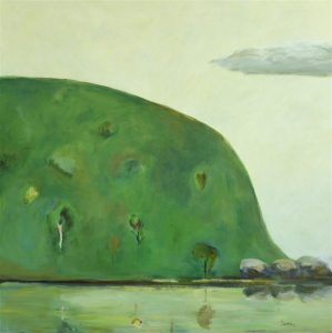 Headland 60s Green - Robyn Pedley, 60x60cm Acrylic on board, framed, Bobbie P Gallery