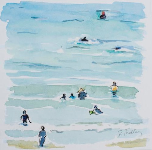 "Summer Fun ""Dolphins"" - Robyn Pedley 14cm x 14cm, Watercolour on cotton rag, framed in white, Bobbie P Gallery"