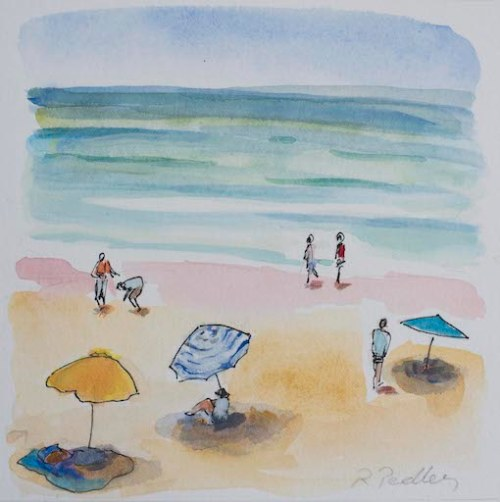 "Summer Fun ""Under the Sun"" - Robyn Pedley 14cm x 14cm, Watercolour on cotton rag, framed in white, Bobbie P Gallery"