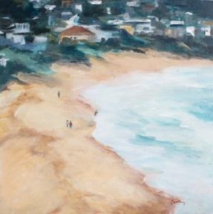 The View - Robyn Pedley, Acrylic on board, 35cm x 35cm, Framed in oak, landscape, beachscape