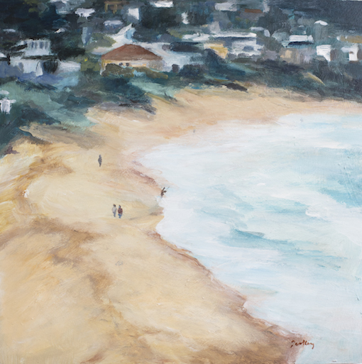 The View - Robyn Pedley, Acrylic on board, 35cm x 35cm, Framed in oak, landscape, beachscape