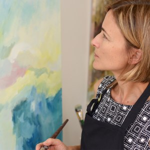 Artist Robyn Pedley at work in the studio