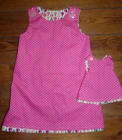Polka dot pinny Bobbins and buttons