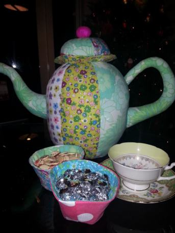 fabric teapot bobbins and buttons