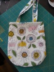 graphic print bag bobbins and buttons