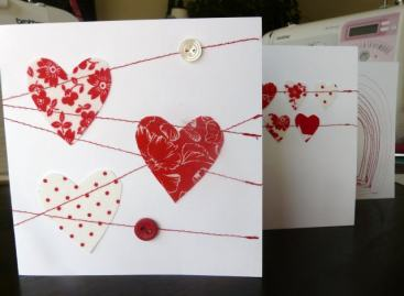 stitched card Bobbins and buttons
